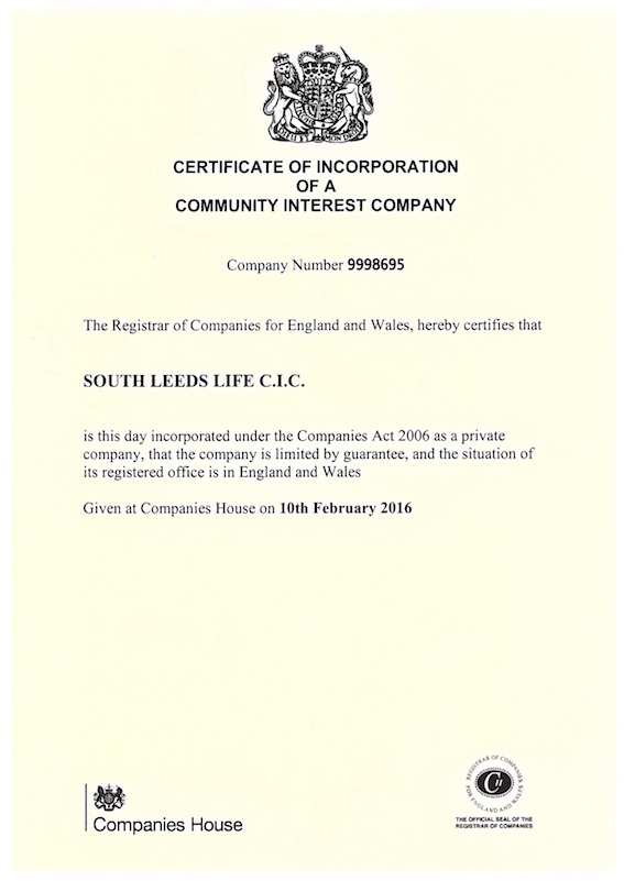 cic certificate supporter pound become week leeds south cics fairly charities profit registered sit legal companies form between