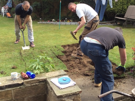 Mark Sunderland makes a start on the garden