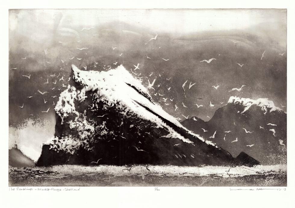 Norman Ackroyd The Rumblings, Muckle Flugga - Shetland, 2013