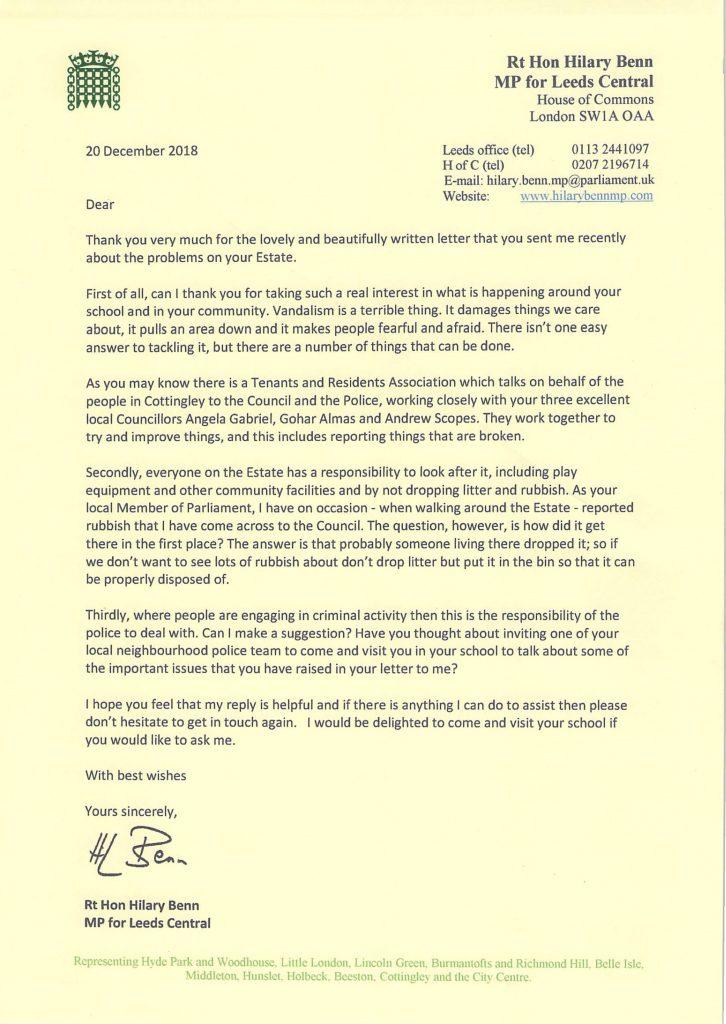 Hilary letter